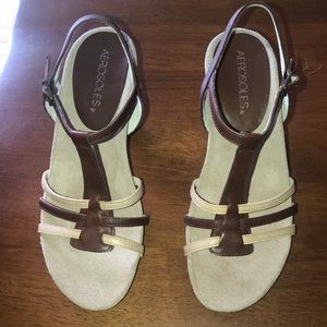 Aerosoles strappy brown and tan sandals. Sz. 5.5